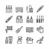 Tattoo Equipment Line Icon Set. Flat Tools Collection. Tattoo Machine, Cartridge, Needle, Glove, Pai poster