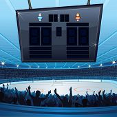 Hockey Stadium. Empty Scoreboard for your text