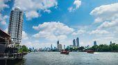 Tourist Popular Boat Travel On The Chao Phraya River, Bangkok, Thailand. Bangkok City Buildings City poster