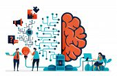 Artificial Intelligence For Problem Solving. Artificial Brain Network System. Intelligence Technolog poster