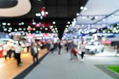 Abstract Blurred Defocused Tradeshow Event Exhibition, Business Convention Show, Job Fair, Technolog poster