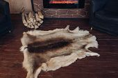 Fur Skin On The Wooden Floor. View Over Genuine Fox Fur Skin Next To Pile Of Wooden Logs On The Brow poster