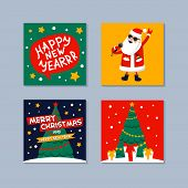 Happy New Year Mini Greeting Card. Singing Santa Claus, Gifts, Christmas Tree And Happy New Year Ins poster