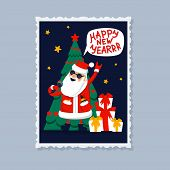 Happy New Year Greeting Card. Singing Santa Claus - Rock Star With Gifts, Christmas Tree And Happy N poster