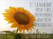 Inspirational Motivational Quote - It Is A New Day, Fresh Start, Fresh Energy, And Fresh Opportuniti poster