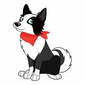 Cute, Friendly Big Dog Sitting Vector Illustration. Cartoon Pet Isolated On White Background. Portra poster