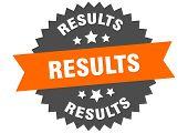 Results Sign. Results Orange-black Circular Band Label poster