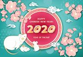 White Metal Rat Is A Symbol Of 2020 Chinese New Year. Horizontal Banner With Cute Mice, Coins, Flowe poster
