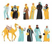 Flat And Isolated Arabs Icon Set Women In Hijab And Arabic Men With Camel Vector Illustration poster