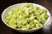 Finely Chopped Cucumber Salad, Background poster