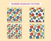Set With Seamless Pattern With Abstract Flowers. Avan-garde Cute Cartoon Background. Abstractionism  poster