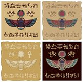 Set Of Vector Banners In The Form Of Ceramic Or Clay Tiles With Egyptian Scarab Beetle And Hieroglyp poster
