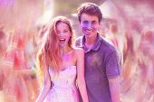 Holi Festival Of Colours. Portrait Of Pretty Young Couple On Holi Color Festival. Girl And Boy With  poster