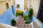 View Of The One Of The Old Colorful Streets In The Tangier Medina Quarter In Northern Morocco. A Med poster
