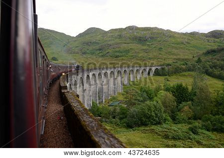 Jacobite steam train crossing Glenfinnan