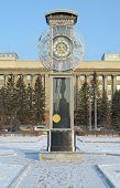 stock photo of pendulum clock  - Transparent clock with a pendulum in a central square in Krasnoyarsk - JPG