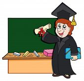 picture of school-leaver  - Graduate student standing before blackboard  - JPG