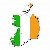 Постер, плакат: Ирландия карта флаг