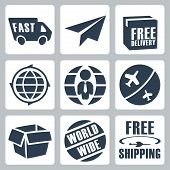 image of shipping receiving  - Vector isolated shipping icons set over white - JPG