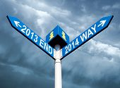 pic of end rainbow  - Street post with 2013 end and 2014 way signs - JPG