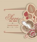 Invitation in vector. Delightful Save the Date card. Adorable romantic card