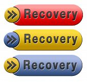 Recovery recover lost data button or icon