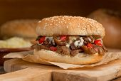 image of shawarma  - A donair burger with melted cheese tomato onion and sauce - JPG
