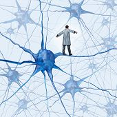 image of nerve cell  - Brain research challenges as a medical concept with a science doctor walking on a human neuron connection as a highwire tight rope metaphor through a maze of neurons as an icon of finding a cure for autism alzheimers and dementia - JPG