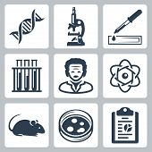 foto of einstein  - Vector isolated laboratory icons set over white - JPG