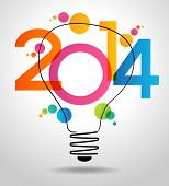 image of happy new year 2014  - Vector 2014 Happy New Year background with bulb - JPG