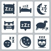 picture of owls  - Vector isolated sleep concept icons set - JPG