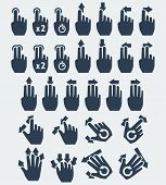 Vector Touch Screen Gestures Icons: Tap, Press And Hold, Swipe, Spread, Pinch, Rotate