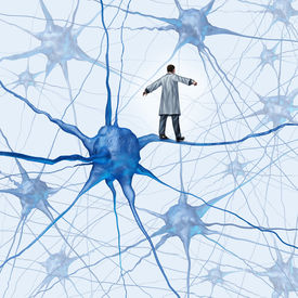 image of neuron  - Brain research challenges as a medical concept with a science doctor walking on a human neuron connection as a highwire tight rope metaphor through a maze of neurons as an icon of finding a cure for autism alzheimers and dementia - JPG