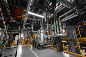 picture of thermal  - equipments pipes in a modern thermal power station - JPG