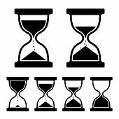 stock photo of sand timer  - Sand Glass Clock Icons Set - JPG