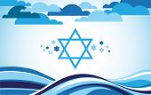 picture of israel israeli jew jewish  - abstract israel flag as sea and blue sky  - JPG