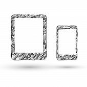 stock photo of transmission lines  - Vector tablet and smartphone concept doodle style icon - JPG