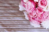 image of floral bouquet  - Beautiful wedding bouquet on wooden background - JPG