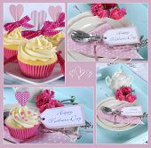 foto of nurture  - Happy Mothers Day collage of four images of pink theme cupcakes gifts on vintage aqua blue tray setting with berries and cream - JPG