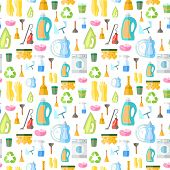stock photo of dust-bin  - Cleaning washing housework dishes broom bottle sponge icons seamless pattern vector illustration - JPG