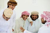 stock photo of muslim  - Gulf Arabic Muslim people posing - JPG