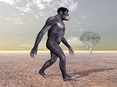 picture of homo  - Computer generated 3D illustration with the Homo Habilis - JPG