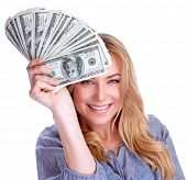 foto of money prize  - Portrait of attractive cheerful female showing many banknotes of one hundred dollars - JPG