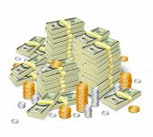 picture of cash  - Realistic 3d dollar cash banknotes stack money and coins tower concept vector illustration - JPG