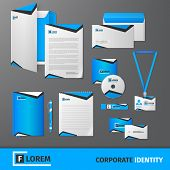 foto of letterhead  - Blue geometric technology business stationery template for corporate identity and branding set isolated vector illustration - JPG