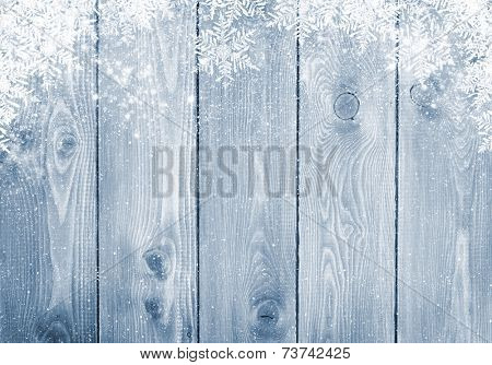 Blue wood texture with snow christmas background poster