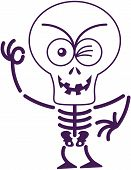 stock photo of maliciousness  - Mischievous skeleton with big head - JPG
