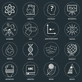 picture of quantum physics  - Science areas outline icons set with physics chemistry psychology isolated vector illustration - JPG