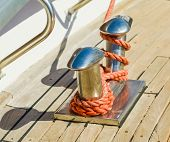 foto of bollard  - bollard docked yachts in the port is fixed rope - JPG
