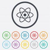picture of atom  - Atom sign icon - JPG